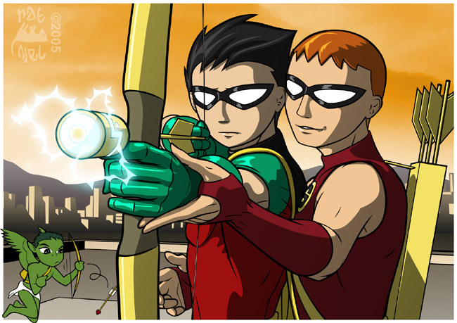 Detail of Robin s odd expression and Speedy s smirk Teen Titans Go Robin Vs Speedy