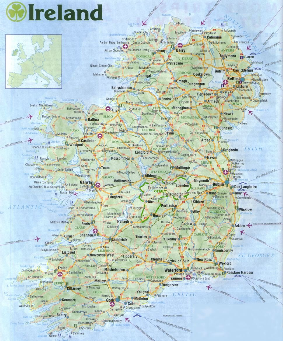 photo regarding Map of Ireland Printable named Map of Eire. Chestnut Cottage