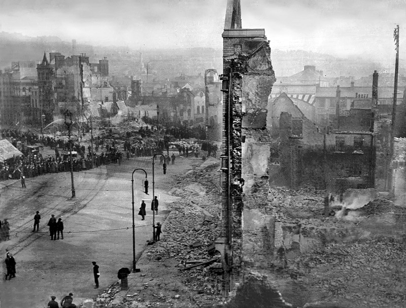 The devastated city centre of Cork City following its destruction by locally garrisoned units of the British Occupation Forces during the War of Independence, Ireland 1920