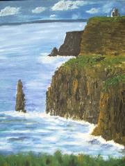 Painting of the magnificent Cliffs of Moher. The mighty barrier wall of these cliffs, stretching for over ten miles and rising sheer to  over 650 feet, marks the edge of The Burren, County  Clare. Nearby is Aill na Searrach (called 'Aileens' by the surfers), where one of Ireland's best surfing  waves can produce a 15 second, 30 foot tube. In the distance can be seen the Aran Islands, or maybe even the legendary Tir na nOg, the Land of the Ever Young!