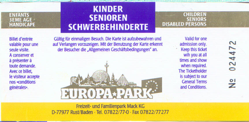 Europa Park Karte.Old Europa Park Tickets